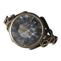 Antique 4 1/2 Carat Paste and 15K Gold Ring ~ Edwardian Period