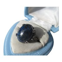Lovely Lapis Lazuli Extra Large Cab in Sterling Ring