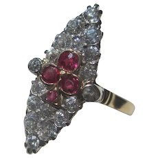 Diamond and Ruby 14K Gold / Platinum Cluster Marquis Ring ~ Edwardian