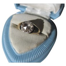 Antique 1.20 carat Full Rose Cut Diamond and Gold Solitaire Ring ~ Georgian