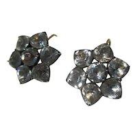Antique Black Dot Paste Cluster Earrings ~ Georgian