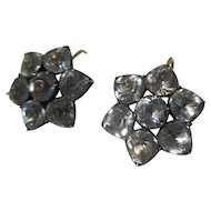 Antique Black Dot Paste Cluster Earrings ~ Georgian