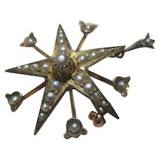 Antique 9k Gold Seed Pearl Starburst Star Pendant / Brooch