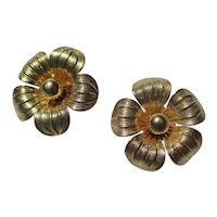Vintage 14K Gold Large Daisy Earrings ~ Retro