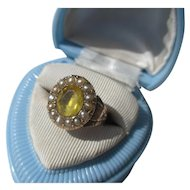 Antique Gold / Pearl and Lemon Citrine Paste Georgian Ring