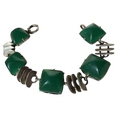 Vintage Apple Green Chrysoprase and Sterling Art Deco Link Bracelet