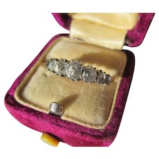 Antique French Paste Silver and 18K Gold Ring ~ Early Victorian