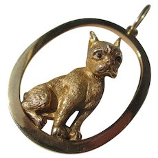 Vintage Large 14K Gold French Bulldog ~ Dog Pendant