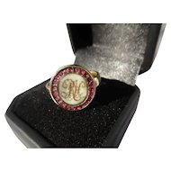Antique Garnet and Gold Mourning Ring
