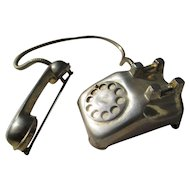 Vintage Retro Telephone Brooch by Fables