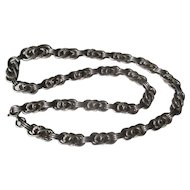 Antique Silver Knot Link Necklace Chain ~ Victorian