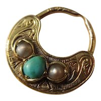 Shop Special! Antique Miniature Gold / Persian Turquoise / Pearl Poison Fob / Pendant
