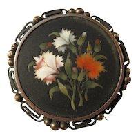 Antique Pietra Dura Brooch Baby Carnations ~ Victorian