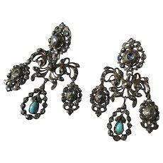 Shop Special! Antique Girandole Earrings ~ Paste ~ Diamond ~ Turquoise Georgian