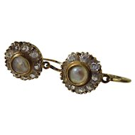 Antique 18K Gold Paste and Natural Pearl Dormeuse Cluster Earrings