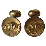 Antique Hunting or Lab Dog Cuff Links ~ Gold Filled
