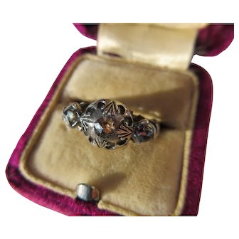 Antique 3 Diamond Trilogy Georgian Ring Silver and Gold