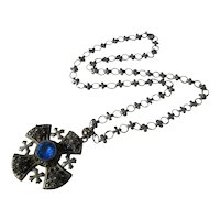 Vintage Silver Maltese Cross and Original Chain
