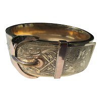Wide Gold Filled Antique Buckle Bracelet / Bangle ~ Victorian