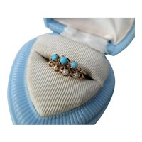 Antique Persian Turquoise Pearl and Rose Gold Ring ~ Victorian