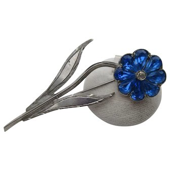 Vintage Sterling Silver Blue Paste Flower Brooch ~ Deco