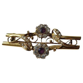 Shop Special! Antique Large Gold Brooch with Natural Amethyst and Pearls