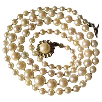 Shop Special! Vintage Saltwater Cultured Akoya Pearl Necklace with Gold 14K Gold Clasp EGL Cert