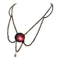 Wonderful Antique Queen Anne Swag Necklace with large Paste and natural Garnet clasp