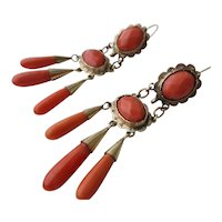 Antique Coral and Gold Girandole Earrings ~ Late Georgian