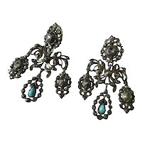 Shop Special! Antique Girandole Earrings ~ Paste ~ Diamond ~ Turquoise Georgian