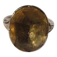 Antique Natural Citrine and Gold Georgian Ring - Large Scale