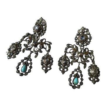 Antique Girandole Earrings ~ Paste ~ Diamond ~ Turquoise Georgian