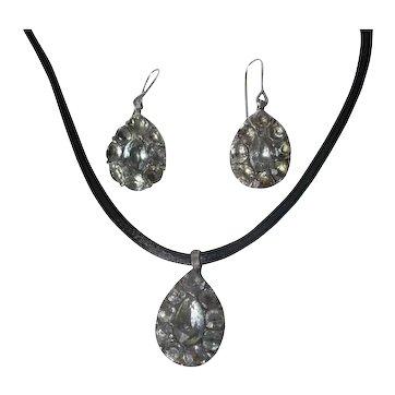 Antique Black Dot Paste Earrings and Pendant Georgian period