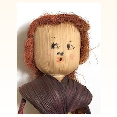 Vintage cornhusk doll with great hair