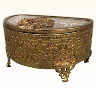 Vintage ormolu filigree trinket box