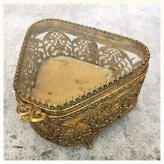 Vintage ormolu filigree box