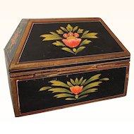 Folk art handpainted box with hip-roofed shape