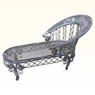 Miniature dollhouse metal chaise, perfect for garden, porch or solarium
