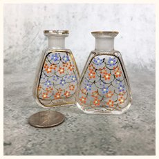Pair of Vintage Miniature glass perfume bottles for doll's accessories