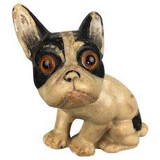 Miniature wax French bulldog, doll companion