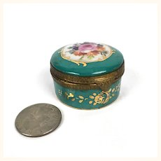 Lovely Old miniature glazed ceramic trinket or snuff box