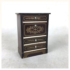 Beidermeier dollhouse cabinet with drawers and gold stencils