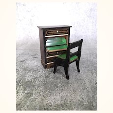 Beidermeier dollhouse desk or cabinet with drawers and matching chair