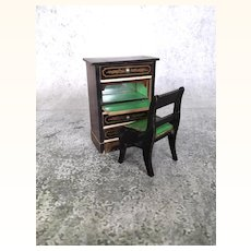 Beidermeier dollhouse cabinet with drawers and matching chair