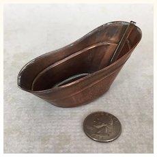 Miniature copper dollhouse bathtub with patina