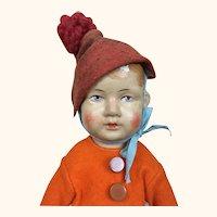 Gebruder Bing Art Cloth Doll in orange felt jacket