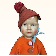 Gebruder Bing Art Cloth Doll in orange felt jacket