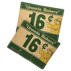Vintage Uneeda Biscuit advertising counter cards