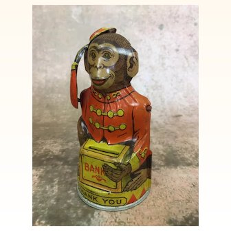 Vintage tin mechanical monkey bank