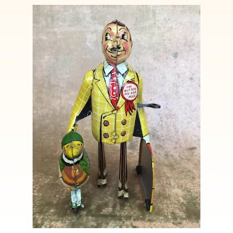 """Vintage Marx 1930's wind up toy """"Butter and Egg Man"""""""
